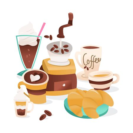 A cartoon vector illustration of coffee cafe accesories and items like coffee grinder, coffee cups, croissants and more.