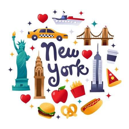 A cartoon vector illustration of super cute new york culture icons, landmarks and food round decorations. Çizim