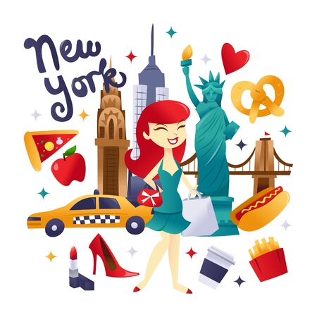 A cartoon vector illustration of super cute new york shopping and food culture. A happy girl is going shopping in the new york city and she is surrounded by iconic landmarks and food.