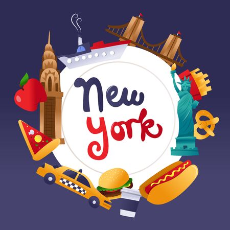 A cartoon vector illustration of new york landmarks and food around a white plate copy space background with new york phrase in the middle. Çizim