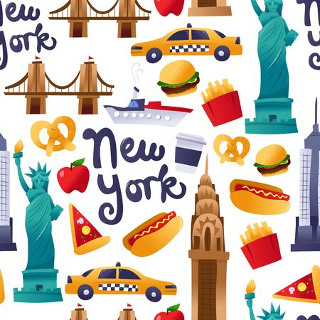 A cartoon vector illustration of super cute new york landmarks, foods and culture seamless pattern background.