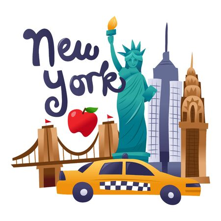 A cartoon vector illustration of new york culture scene filled with taxi, statue of liberty and iconic landmarks.