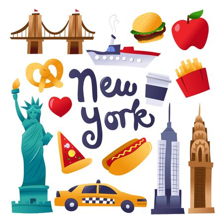 A cartoon vector illustration of various new york culture icons, landmarks and food like hot dog, pretzel, and more.
