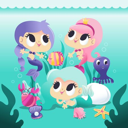 A cartoon vector illustration of three super cute mermaid princesses underwater with her sea creature friends like fish, octopus and more.
