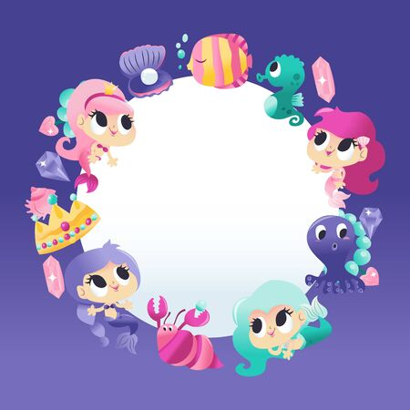 A cartoon vector illustration of super cute mermaids sea creatures around a white round copy space background. Illustration
