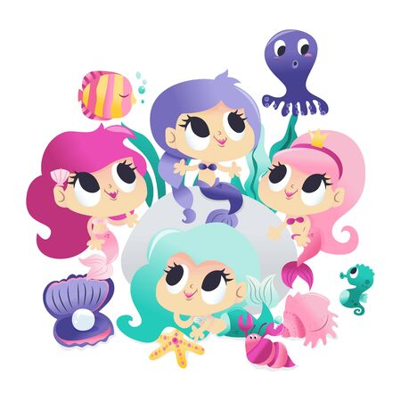 A cartoon vector illustration of four super cute mermaid princesses with her sea creature friends like fish, octopus and more. The characters are isolated from the background.