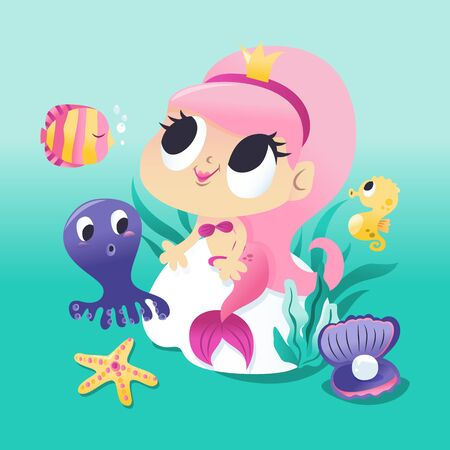 A cartoon vector illustration of a super cute mermaid princess sitting on a rock underwater with her sea creature friends.