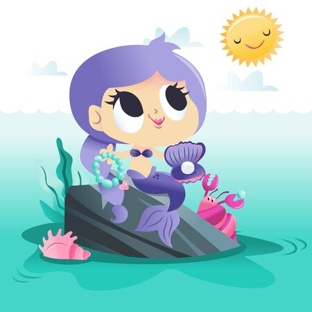 A cartoon vector illustration of a super cute mermaid princess sitting on a rock by the sea. Illustration