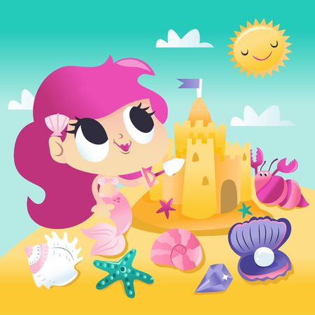 A cartoon vector illustration of a super cute mermaid princess playing sand castle by the beach on a hot summer day. Illustration