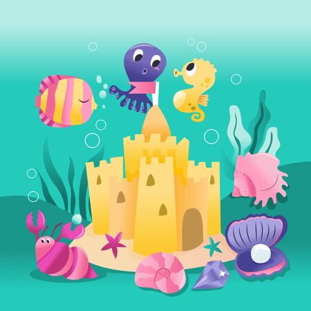 A cartoon vector illustration of underwater sand castle with sea creatures like fish, octopus and sea shells.