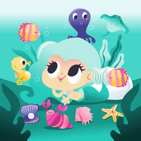A cartoon vector illustration of a super cute mermaid princess lying down underwater with her sea creature friends like octopus, fishes and more.