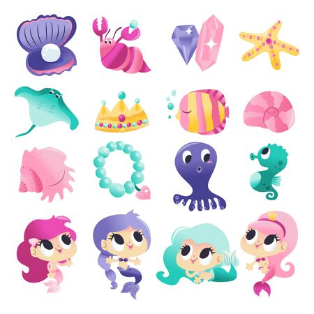 A cartoon vector illustration of various super cute mermaids and sea creatures like octopus, hermit crab, seahorse and fishes. Stock Vector - 132148851