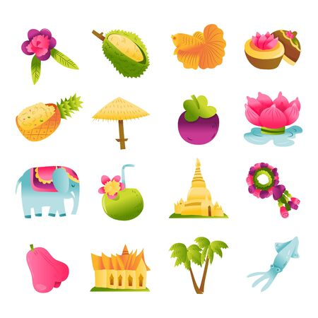 A cartoon vector illustration of various thailand culture icons, landmarks, food and more.