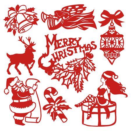 A vector illustration of vintage festive christmas paper cut design elements set.