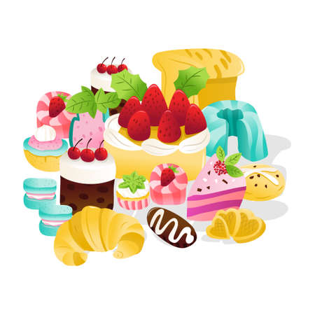 A cartoon vector illustration of a collection of super cute sweets and desserts on a white background.