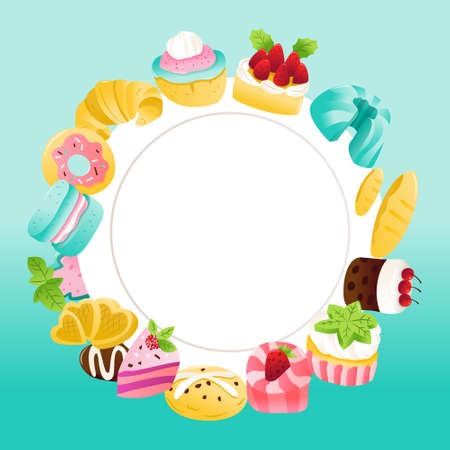 A cartoon vector illustration of desserts around a white plate copy space on  blue