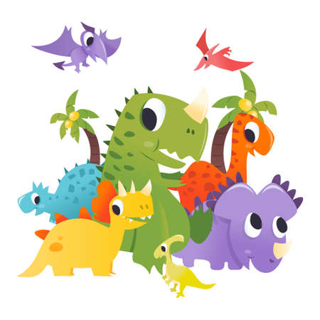 A cartoon vector illustration of super cute dinosaurs group on isolated white background.