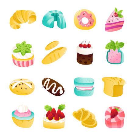 A cartoon vector illustration of various cakes, pastries and desserts. 向量圖像