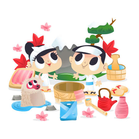A cartoon vector illustration of super cute boy and girl at japanese hot spring onsen.