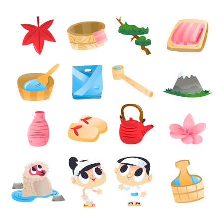 A cartoon vector illustration of 16 various super cute japanese hot spring onsen design elements and characters.