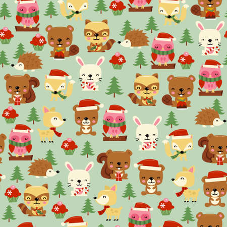A vector illustration of cute christmas woodland creatures celebrating the holiday seamless pattern background.