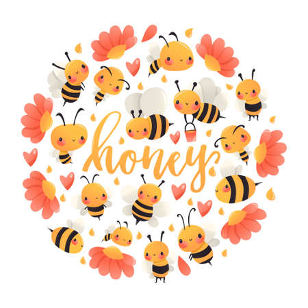 A cartoon vector illustration of various honey bees and flowers round decoration with the word honey in the middle. Ilustracja