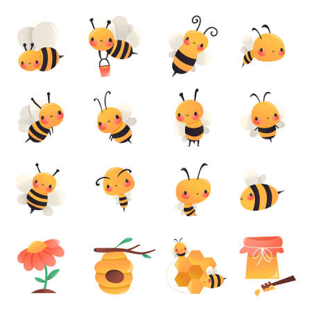 A cartoon vector illustration of various honey bees in different poses, hive, flower and honey pot. Ilustracja