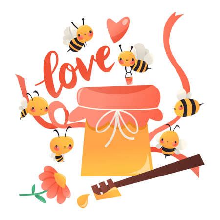 A cartoon vector illustration of various cute honey bees surrounding a giant honey pot with love. Ilustracja
