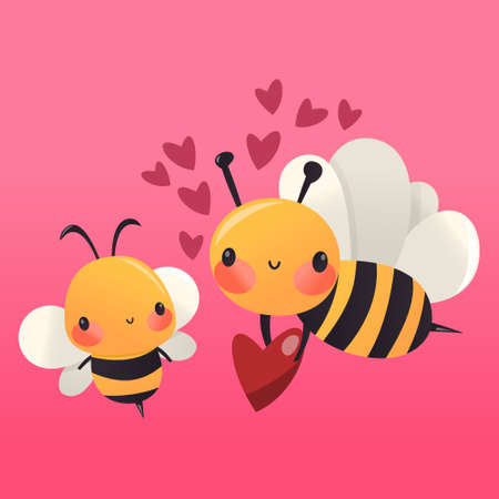 A cartoon vector illustration of two cute honey bees in love.