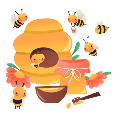A cartoon vector illustration of various cute honey bees surrounding a hive with honey pot.