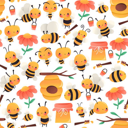 A cartoon vector illustration of various honey bees in different poses, hives, flowers and honey pots seamless pattern background.