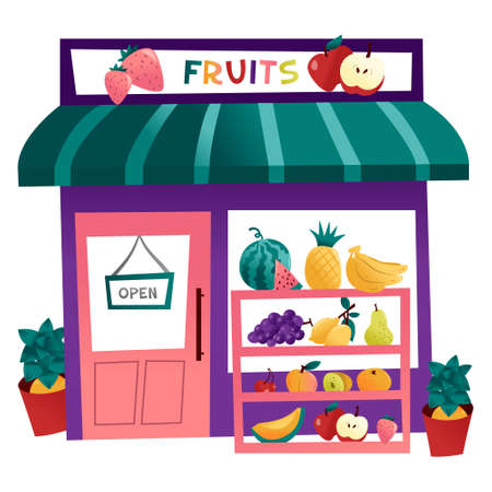 A cartoon vector illustration of a fruits shop with heaps of fresh summer fruits.