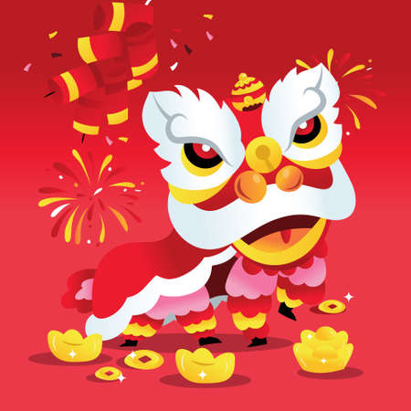 A cartoon vector illustration of super cute chinese new year boy lion dance with firecrackers and gold on a red background.