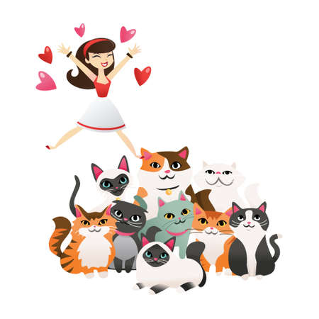 A cartoon vector illustration of woman jumping out of joy at a group of cute kittens and cats.