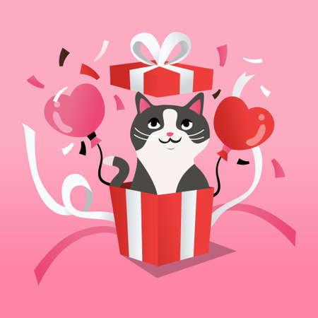 A cartoon vector illustration of a cute white maltese puppy in a surprise gift box on a pink background.