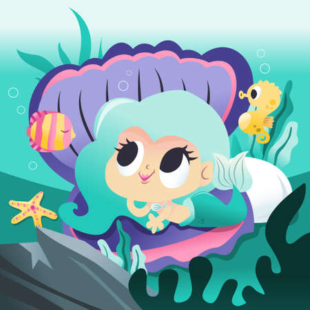 A cartoon vector illustration of a super cute mermaid princess lying down on a giant shell underwater with her sea creature friends like fishes and more.