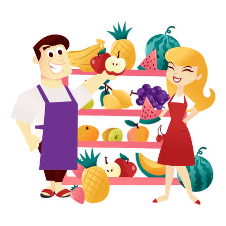A cartoon vector illustration of a male storekeeper and a girl storekeeper with fun fruits on large shelf. 矢量图像