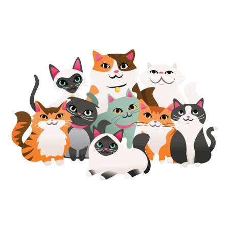A cartoon vector illustration of super cute kittens in a group.