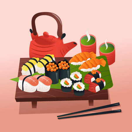 A cartoon vector illustration of sushi and sashimi on a wooden platter with a teapot and two hot green teas.  イラスト・ベクター素材