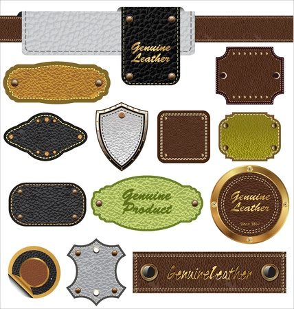 leather label: Leather banner set