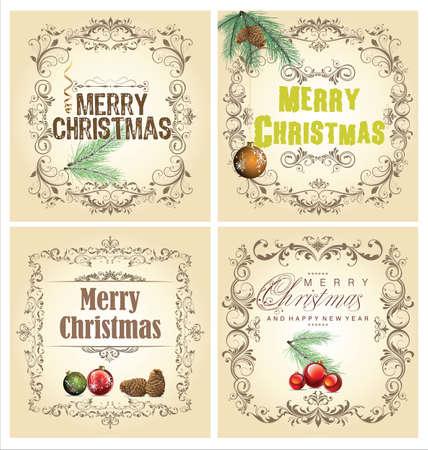 Christmas vintage decorative set Stock Vector - 18768841