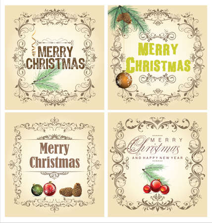 Christmas vintage decorative set Stock Vector - 18768841