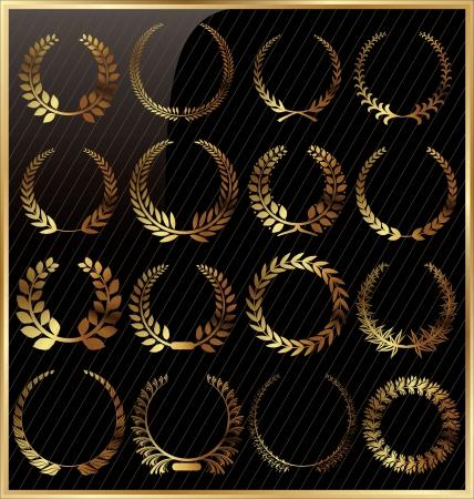 laurel leaf: Corona de laurel de oro conjunto