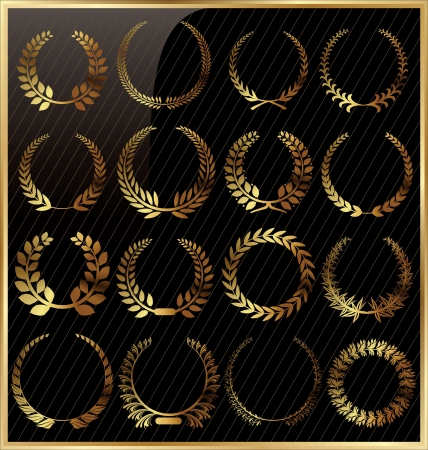 Laurel wreath golden set Vector