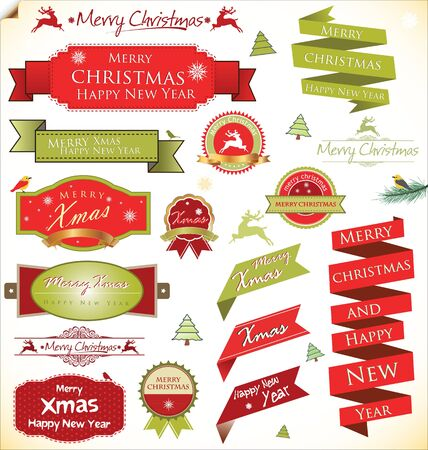 hollies: Christmas vintage labels and elements