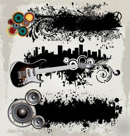 Music grunge banner set Vector