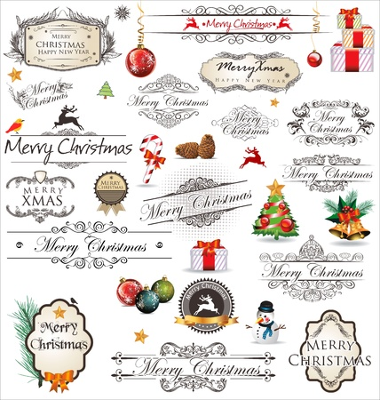Merry Christmas vintage Label collection Stock Vector - 19051192