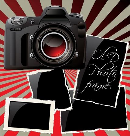 Digital Camera and old photo frames Stock Vector - 19051155