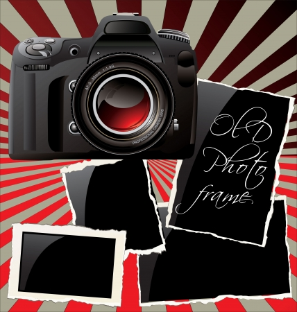Digital Camera and old photo frames Stock Vector - 19051155