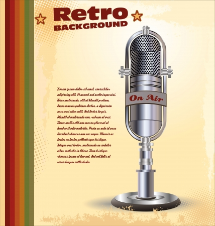 musical theater: Retro background with abstract old microphone